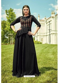 Black Apple Georgette Readymade Kurti