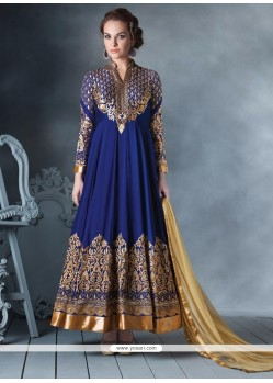 Glorious Faux Georgette Blue Anarkali Salwar Suit