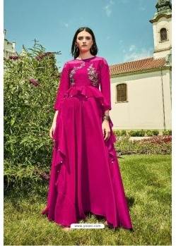 Fuchsia Apple Georgette Readymade Kurti