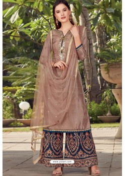 Brown Opera Handworked Palazzo Suit