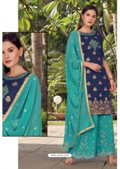 Navy And Mint Opera Handworked Palazzo Suit