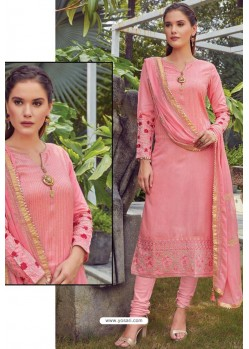 Light Pink Chanderi Handworked Churidar Suit
