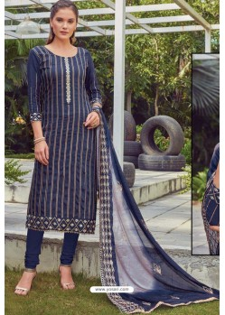 Navy Blue Chanderi Handworked Churidar Suit