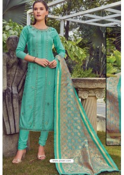 Aqua Mint Chanderi Handworked Churidar Suit