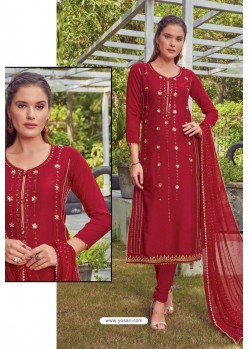 Red Chanderi Handworked Churidar Suit