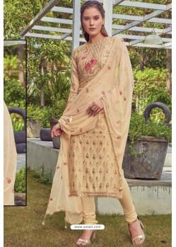 Golden Chanderi Handworked Churidar Suit