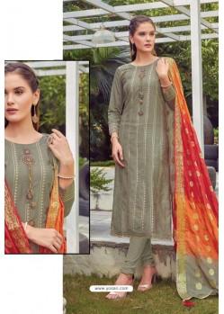 Mehendi Chanderi Handworked Churidar Suit