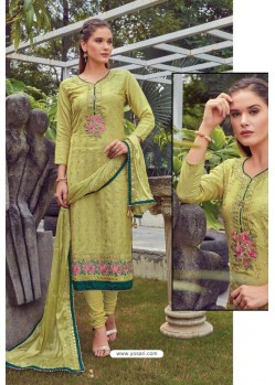 Parrot Green Chanderi Handworked Churidar Suit