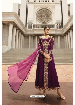 Purple Georgette Zari Embroidered Anarkali Suit