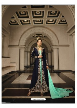 Navy And Sky Blue Georgette Zari Embroidered Anarkali Suit