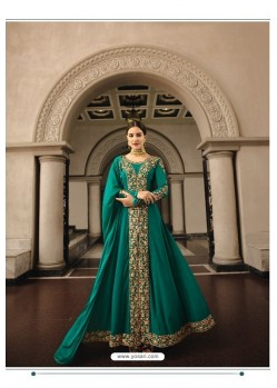 Teal Georgette Zari Embroidered Anarkali Suit