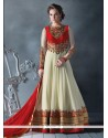 Prodigious Red And Off White Faux Georgette Floor Length Anarkali Salwar Suit