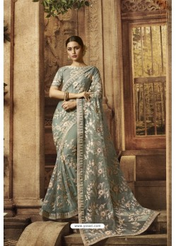 Grayish Green Sparkle Net Designer Saree
