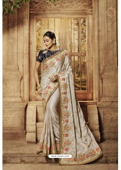 Grey Satin Designer Saree
