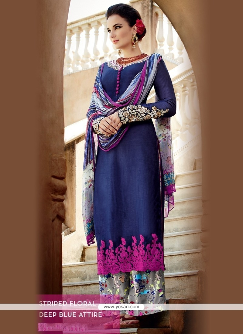 Magnificent Cotton Satin Blue Designer Palazzo Salwar Suit