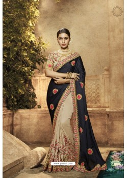 Black And Cream Satin Orra Silk Designer Saree