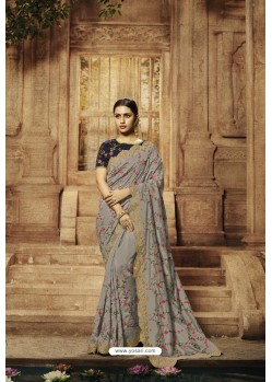 Grey Balgari Silk Designer Saree