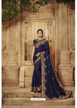 Navy Blue Pure Dola Silk Designer Saree