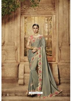 Silver Pure Silk Designer Saree