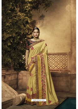 Yellow Balgari Silk Designer Saree