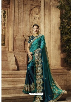 Teal Barfi Padding Silk Designer Saree