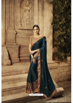 Navy Blue Barfi Silk Designer Saree