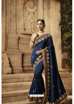 Navy Blue Vichitra Silk Designer Saree