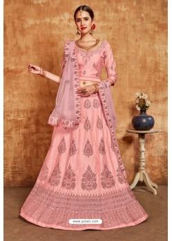 Light Pink Avantika Slub Designer Lehenga Choli