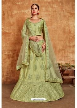 Green Avantika Slub Designer Lehenga Choli