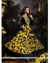 Yellow And Black Printed Georgette Anarkali Suits