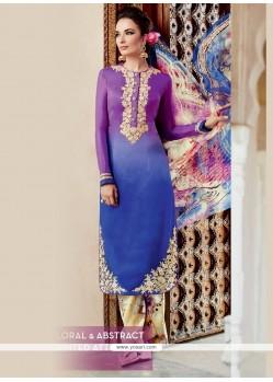 Tantalizing Multi Colour Embroidered Work Cotton Satin Designer Salwar Suit