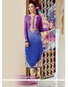 Tantalizing Multi Colour Embroidered Work Cotton Satin Designer Salwar Suit
