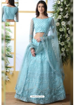 Sky Blue Net Thread Embroidered Designer Lehenga Choli
