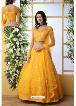 Yellow Net Thread Embroidered Designer Lehenga Choli