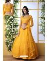 Yellow Net Thread Embroidered Designer Lehenga Choli