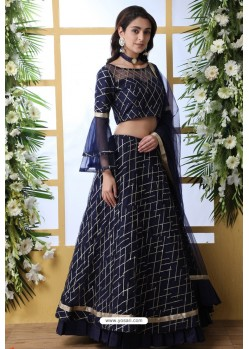Navy Blue Net Thread Embroidered Designer Lehenga Choli