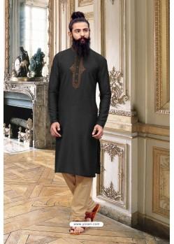 Black Slub Silk Kurta Pajama