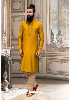 Mustard Slub Silk Kurta Pajama