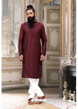 Maroon Dupion Silk Kurta Pajama