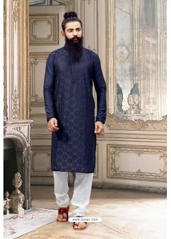 Navy Blue Dupion Silk Kurta Pajama