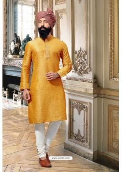 Perfect Yellow Jacquard Kurta Pajama