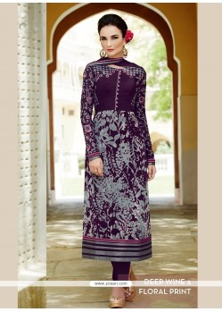 Sparkling Purple Viscose Straight Suit