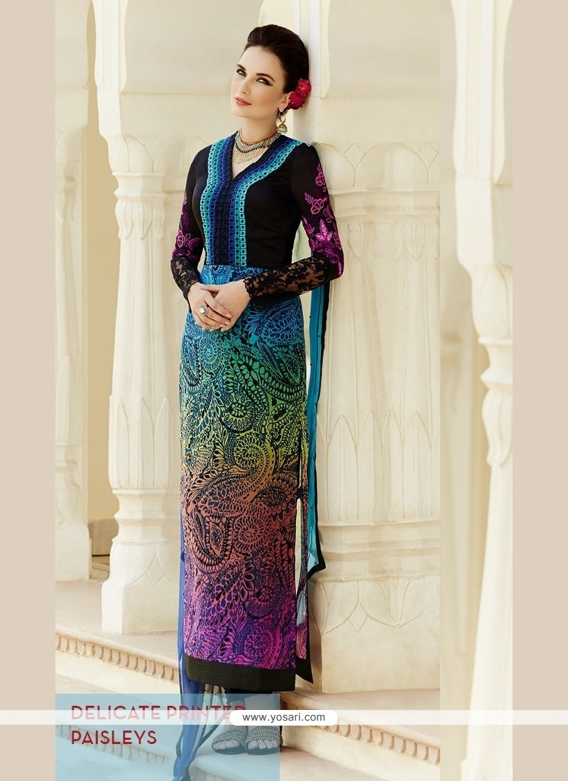 Multi Colour Georgette Straight Suit