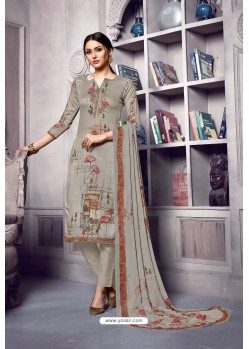Taupe Pure Cotton Cambric Straight Suit
