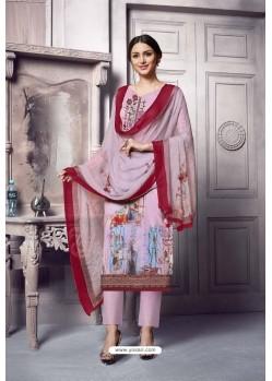 Mauve Pure Cotton Cambric Straight Suit