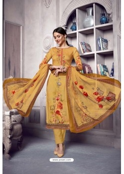 Yellow Pure Cotton Cambric Straight Suit