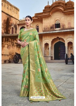 Green Silk Multi Weaving Designer Saree