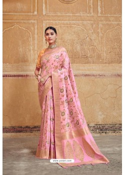 Pink Silk Multi Weaving Designer Saree