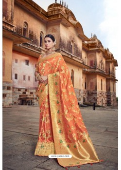 Orange Silk Multi Weaving Designer Saree