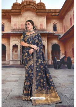 Navy Blue Silk Multi Weaving Designer Saree